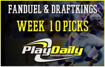 2016 nfl week 10 fantasy picks fanduel and draftkings lineups